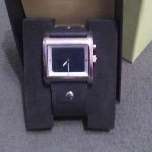 Fossil watch with leather band $25